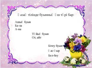 Бітеу буын Қас-қыр Бел-беу Қазақ тілінде буынның үш түрі бар: Ашық буын Ба-ла