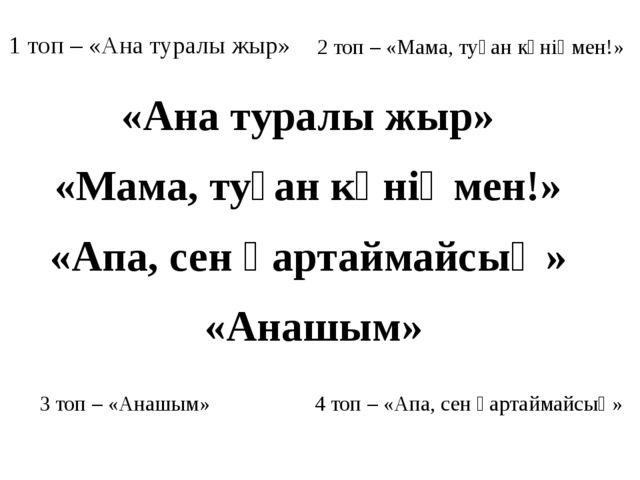 3 топ – «Анашым» 1 топ – «Ана туралы жыр» 2 топ – «Мама, туған күніңмен!» 4 т...