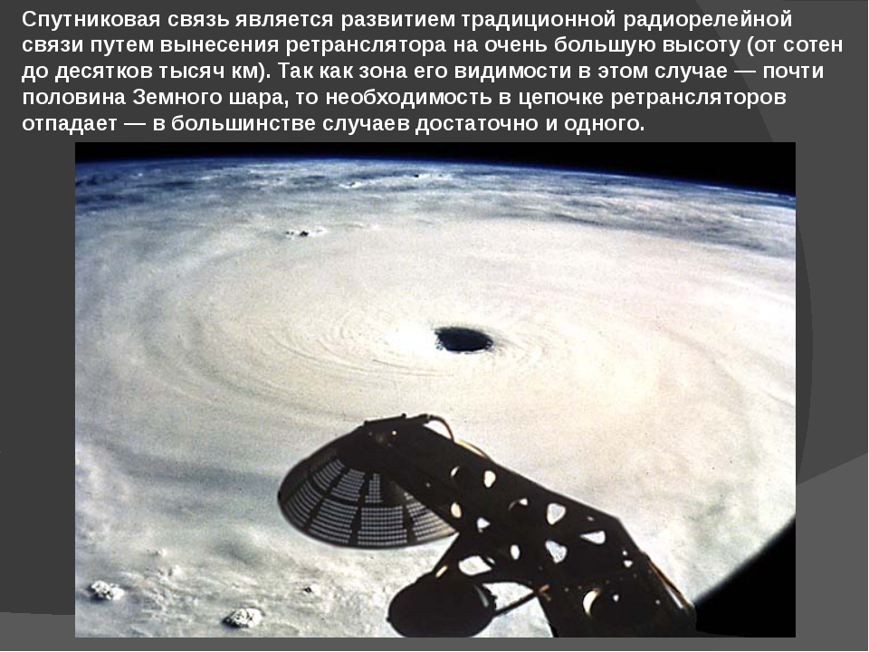 Спутниковая связь является развитием традиционной радиорелейной связи путем в...