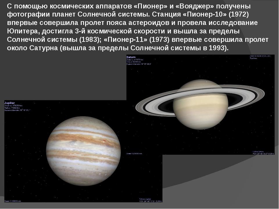 С помощью космических аппаратов «Пионер» и «Вояджер» получены фотографии план...