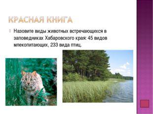 Назовите виды животных встречающихся в заповедниках Хабаровского края: 45 вид
