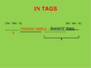 IN TAGS (He / She / It) (he / she / it) _______ PRESENT SIMPLE , doesn't/ doe