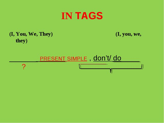 IN TAGS (I, You, We, They) (I, you, we, they) _______ PRESENT SIMPLE , don't/...