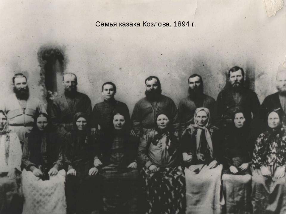 Фотографии старинных казачьих семей Семья казака Козлова. 1894 г.