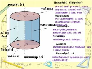 О О1 табаны жасаушы цилиндр осі Бүйір беті табаны радиус (r) Цилиндрдің бүйір