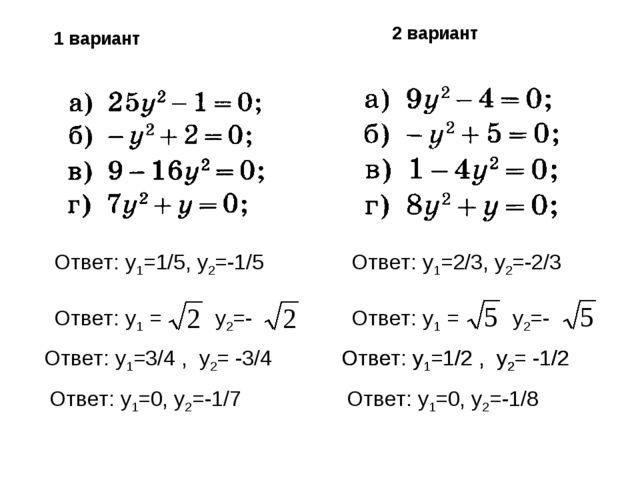 Ответ: y1=1/5, y2=-1/5 Ответ: y1 = y2=- Ответ: y1=3/4 , y2= -3/4 Ответ: y1=0,...