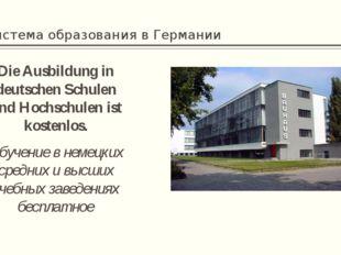 Система образования в Германии Die Ausbildung in deutschen Schulen und Hochsc
