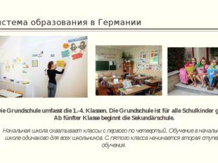 Система образования в Германии Die Grundschule umfasst die 1.-4. Klassen. Die