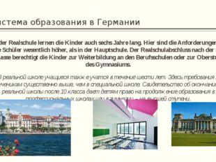 Система образования в Германии In der Realschule lernen die Kinder auch sechs