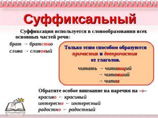 Суффиксальный Суффиксация используется в словообразовании всех основных часте