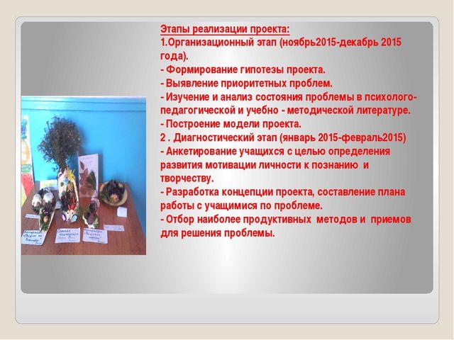 Этапы реализации проекта: 1.Организационный этап (ноябрь2015-декабрь 2015 го...