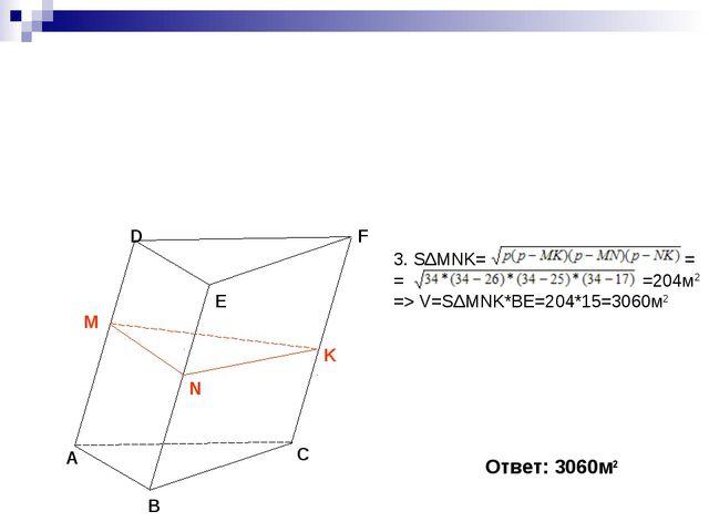 A B C D E F 3. SΔMNK= = = =204м2 => V=SΔMNK*BE=204*15=3060м2 Ответ: 3060м2