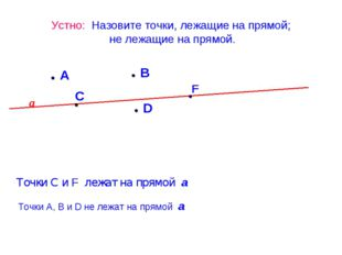 Устно: Назовите точки, лежащие на прямой; не лежащие на прямой. А D С В F а Т