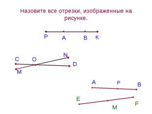 А В Назовите все отрезки, изображенные на рисунке. P K С O M N D А В E F М Р