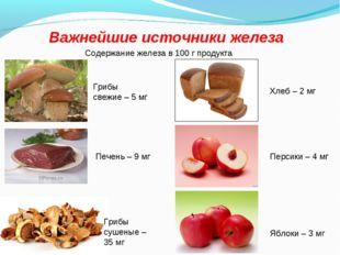 Важнейшие источники железа Содержание железа в 100 г продукта Грибы свежие –