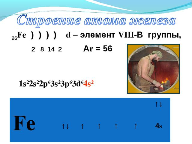 26Fe ) ) ) ) d – элемент VIII-В группы, 2 8 14 2 Аr = 56 1s22s22p63s23p63d64s...