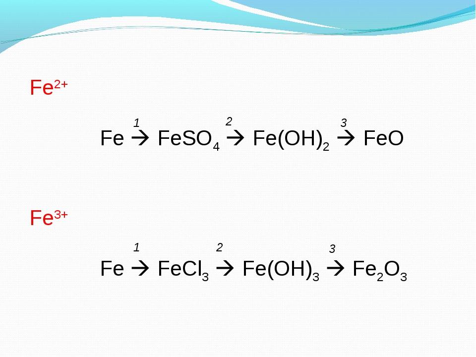 Fe2+   Fe  FeSO4  Fe(OH)2  FeO Fe3+ Fe  FeCl3  Fe(OH)3  Fe2O3 1 2 3...