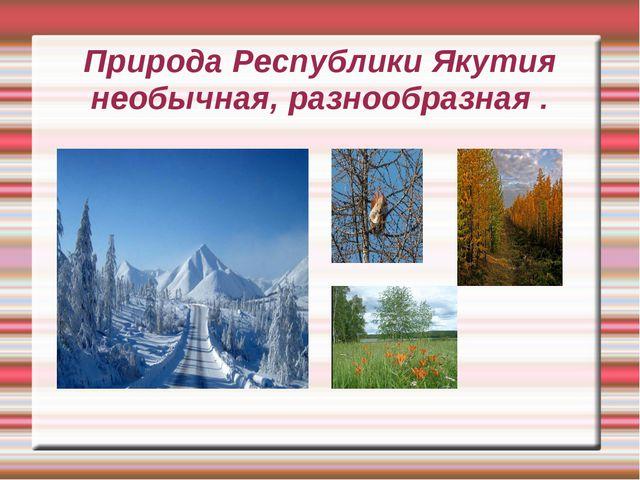 Природа Республики Якутия необычная, разнообразная .