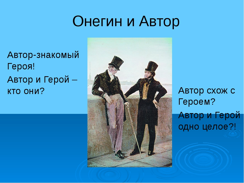 Онегин и Автор Автор-знакомый Героя! Автор и Герой –кто они? Автор схож с Гер...