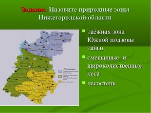 Задание. Назовите природные зоны Нижегородской области таёжная зона Южной под