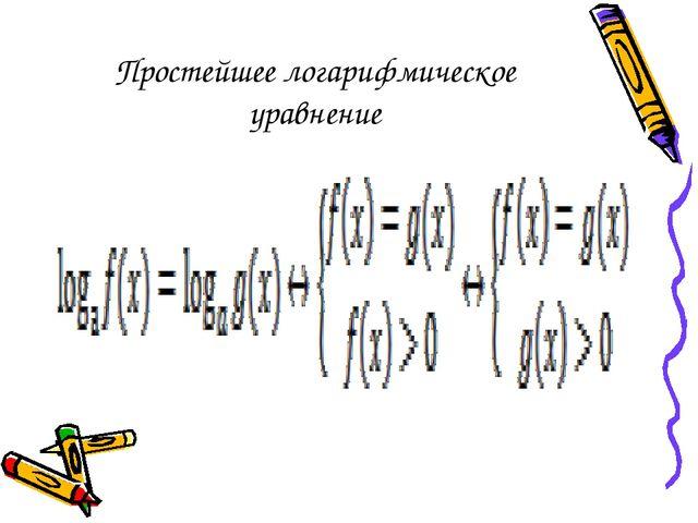 Простейшее логарифмическое уравнение
