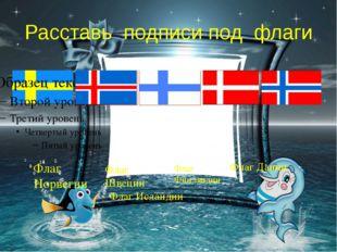 Расставь подписи под флаги Флаг Норвегии Флаг Швеции Флаг Финляндии Флаг Дани