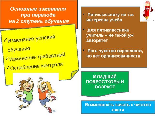 Основные изменения при переходе на 2 ступень обучения Изменение условий обуч...