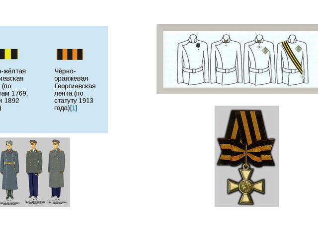 Чёрно-жёлтая Георгиевская лента (по статутам 1769, 1833 и 1892 годов) Чёрно-...