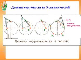 Деление окружности на 5 равных частей С А1 С в А1 А1 А1 в А2 А4 А5 А1 А2 сто