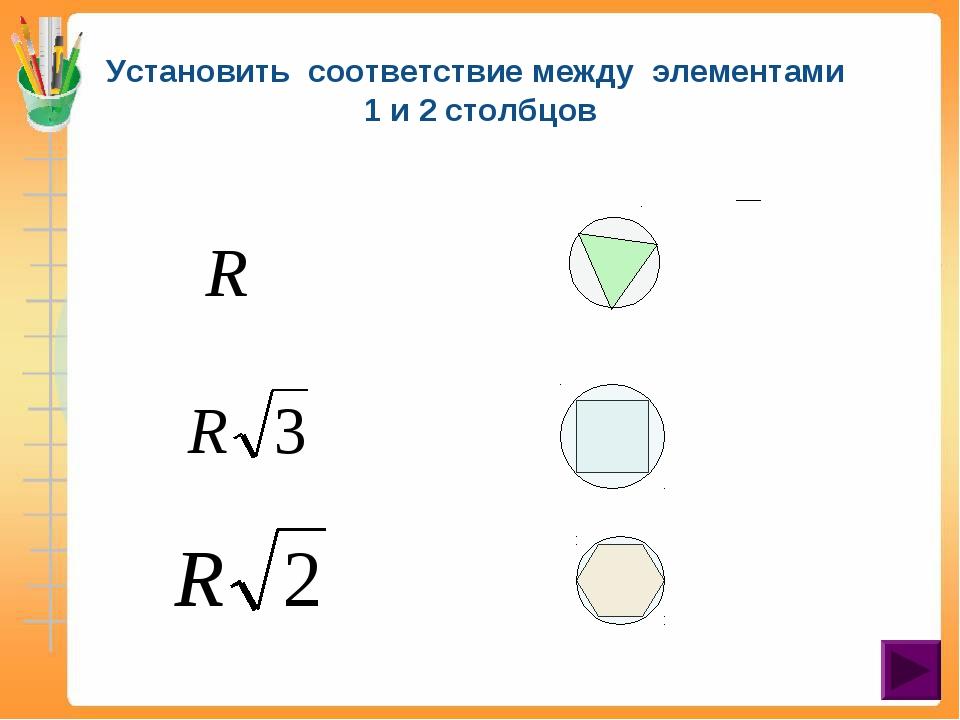 Установить соответствие между элементами 1 и 2 столбцов