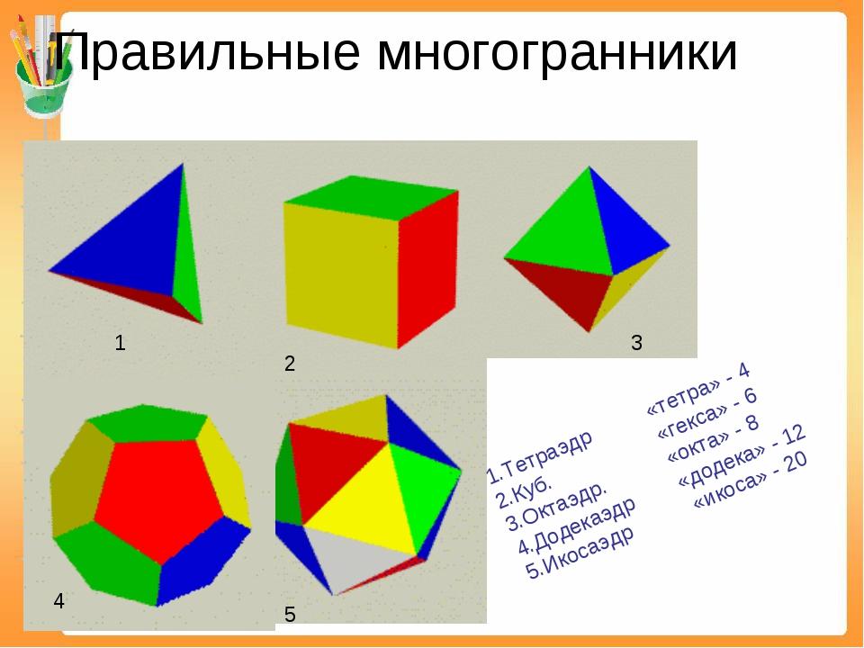 Правильные многогранники 1.Тетраэдр «тетра» - 4 2.Куб. «гекса» - 6 3.Октаэдр....