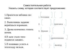 Самостоятельная работа Указать схему, которая соответствует предложению: 1.Пр