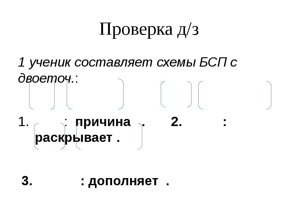 Проверка д/з 1 ученик составляет схемы БСП с двоеточ.: : причина . 2. : раскр...