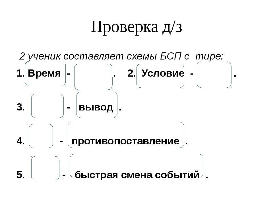 Проверка д/з 2 ученик составляет схемы БСП с тире: 1. Время - . 2. Условие -...