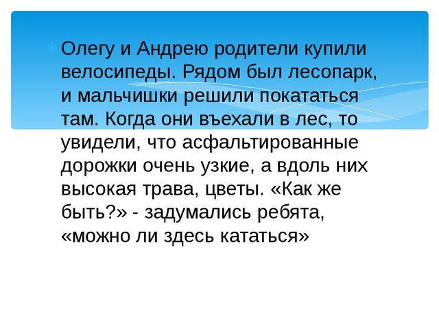 Олегу и Андрею родители купили велосипеды. Рядом был лесопарк, и мальчишки ре...