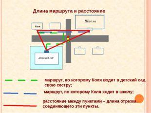 Длина маршрута и расстояние Коля Детский сад Школа маршрут, по которому Коля