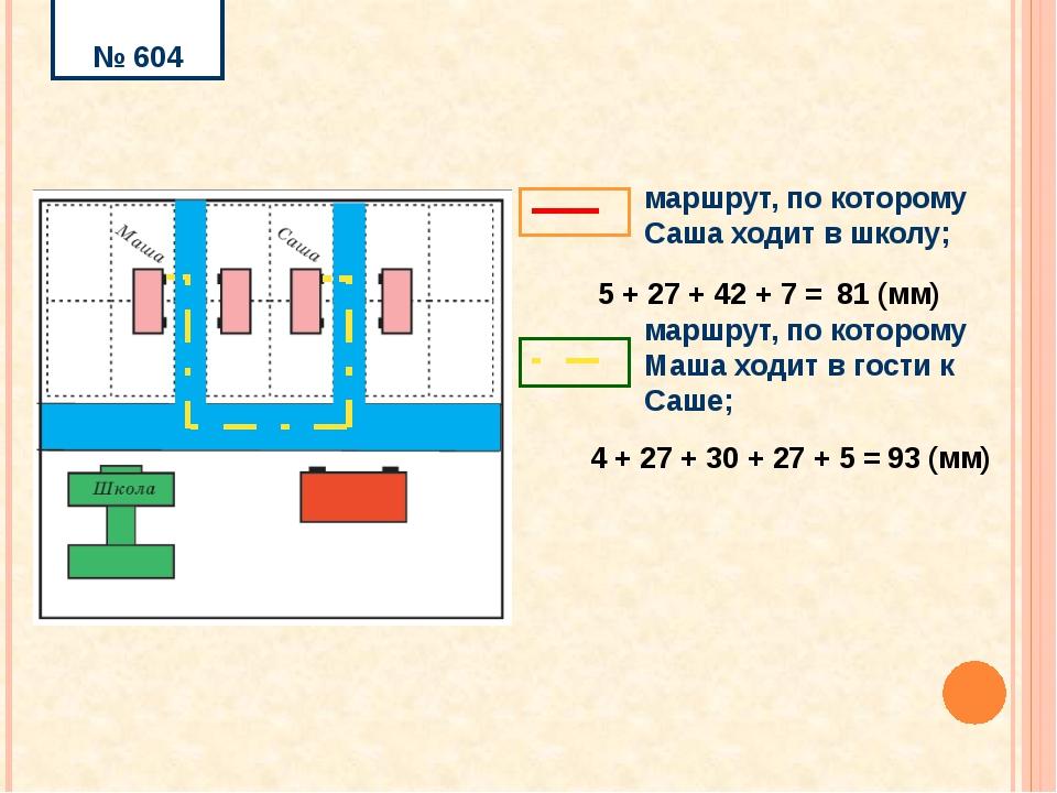 4 + 27 + 30 + 27 + 5 = 93 (мм) № 604 5 + 27 + 42 + 7 = 81 (мм) маршрут, по к...