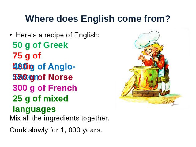 Where does English come from? Here's a recipe of English: Mix all the ingredi...