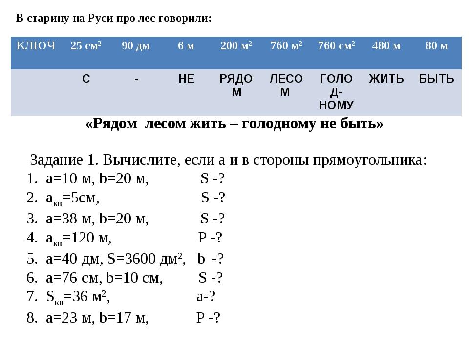 В старину на Руси про лес говорили: Задание 1. Вычислите, если а и в стороны...