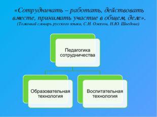 «Сотрудничать – работать, действовать вместе, принимать участие в общем, деле