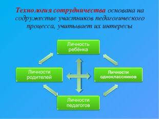 Технология сотрудничества основана на содружестве участников педагогического
