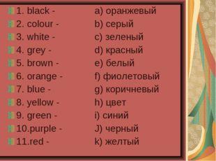 1. black -a) оранжевый 2. colour - b) серый 3. white -c) зеленый 4. gre