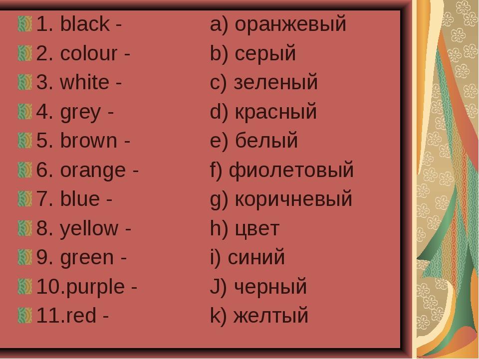 1. black -a) оранжевый 2. colour - b) серый 3. white -c) зеленый 4. gre...