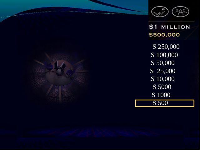 S 250,000 S 100,000 S 50,000 S 25,000 S 10,000 S 5000 S 1000 S 500