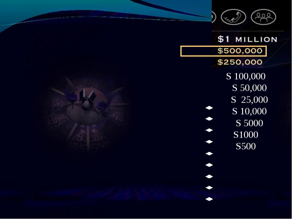 S 100,000 S 50,000 S 25,000 S 10,000 S 5000 S1000 S500