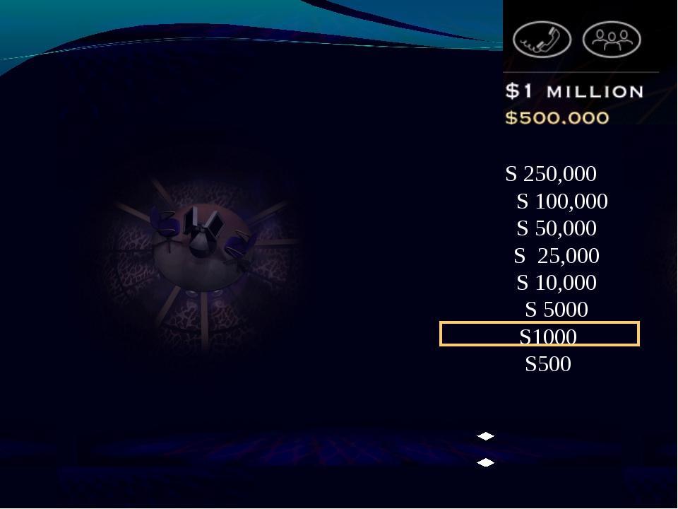 S 250,000 S 100,000 S 50,000 S 25,000 S 10,000 S 5000 S1000 S500