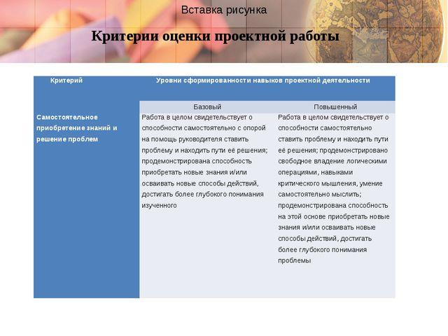 Критерии оценки проектной работы Критерий Уровнисформированностинавыков прое...