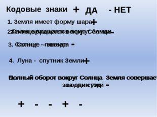 Кодовые знаки + ДА - НЕТ 1. Земля имеет форму шара 2. Солнце вращается вокруг