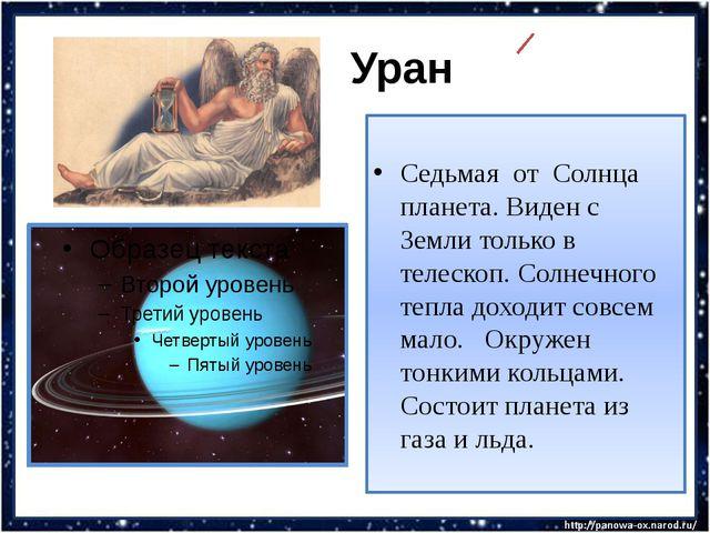 Уран Седьмая от Солнца планета. Виден с Земли только в телескоп. Солнечного...