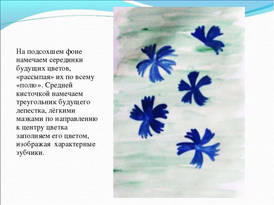 На подсохшем фоне намечаем серединки будущих цветов, «рассыпая» их по всему «...